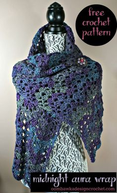 Midnight Aura Wrap - Free Crochet Pattern @OombawkaDesign #crochet #freepattern #wrap #shawl