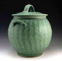 Bauman pottery-lidded jar.vase