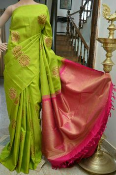 Lime Green with pink pallu