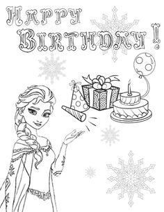Elsa Frozen Coloring Pages Happy Birthday