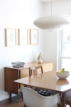 #Modernica George Nelson Saucer Lamp and Shell Chair.