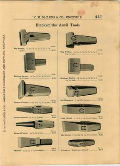 C. M. McClung & CO catalog page. Blacksmithing tools.