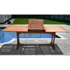@Overstock.com - Rectangular Extension Table - This modern rectangular extension table shows you how not to sacrifice style to add environmentally-friendly materials into your outdoor design. Made from non-endangered Mahogany Shorea wood, it is bug-resistant and stands up well to weather elements.  http://www.overstock.com/Home-Garden/Rectangular-Extension-Table/3379749/product.html?CID=214117 $625.99