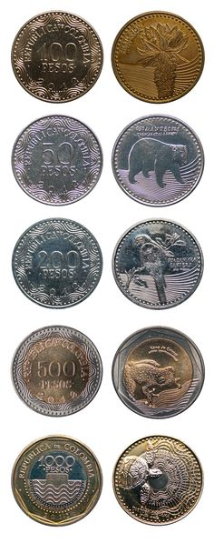 Colombian coins - Monedas colombianas Colombian Art, Colombia South America, Gold And Silver Coins, Country Landscaping, Thinking Day, World Coins, Rare Coins, Coin Collecting, Animal Photography
