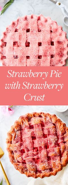 Strawberry Pie with Strawberry Crust Food coloring was so ten years ago. That's why this gorgeous strawberry pie with strawberry crust g. Brownie Desserts, Just Desserts, Delicious Desserts, Yummy Food, Colorful Desserts, Pie Dessert, Appetizer Dessert, Bread Baking, Baking Cakes