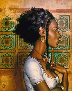 """Ishtara"" - S. Versilee, oil on canvas {contemporary art Afro-Arab woman black… Black Girl Art, Black Women Art, African American Art, African Art, Natural Hair Art, Natural Hair Styles, Fashion Paintings, Artwork Paintings, Acrylic Paintings"