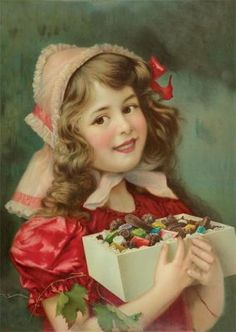 vintage girl and a box full of candy and chocolate! Images Vintage, Vintage Christmas Images, Victorian Christmas, Vintage Valentine Cards, Vintage Greeting Cards, Vintage Postcards, Christmas Past, Christmas Greetings, Christmas Sweets
