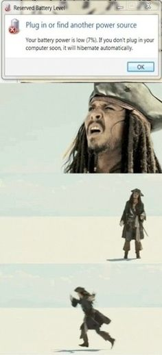 That battery low feeling - Funny Jack Sparrow from the Pirates of the Caribbean movies expressing that familiar feeling when your battery power is low and you need to plug in your computer. Will Turner, Oncle Rick, Johny Depp, Funny Memes, Hilarious, Funny Ads, Memes Humor, Funny Videos, I Love To Laugh