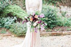 Boho Luxe | Bridal Bouquet | Lancaster & Cornish ribbons | Ferns | Poppies | English cutting garden.