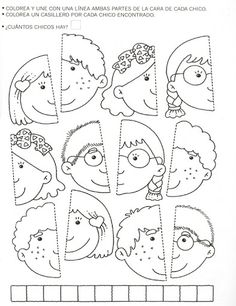 Use this for my younger students in the style of the puzzle piece group project.kinder, blank faces have students draw themselves and color or paint with watercolor? Learning Activities, Preschool Activities, Kids Learning, Teaching Resources, Art For Kids, Crafts For Kids, Fall Crafts, Folder Games, Kindergarten Worksheets