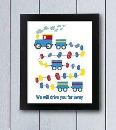Cuadro huellas nacimiento tren familia bebé / pdf / Babyshower