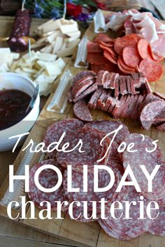My go-to for holiday entertaining? Charcuterie is a no-fuss meal,  beautiful-looking, and perfect for feeding a crowd with little to no prep  work! This is hands down the easiest way to feed a lot of people on a  budget, or if you are in a time crunch. You can add a side of soup or  chili and