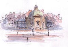 Pump Room at Harrogate ~ sketch ~ John Edwards Watercolor Painting Techniques, Watercolor Canvas, Watercolor Sketch, Art Tutor, Pen And Wash, John Edwards, Urban Sketchers, Cubism, Sketches