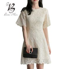 Follow Us For Great Street Styles  BLANC MIAO Summer White Lace Dress Women Casual A-Line Short Sleeve Mini Dresses Korean Style Plus Size Women Clothing T5B137     Get Stylish Clothes On A Budget!     FREE Shipping Worldwide     Get it here ---> http://ebonyemporium.com/products/blanc-miao-summer-white-lace-dress-women-casual-a-line-short-sleeve-mini-dresses-korean-style-plus-size-women-clothing-t5b137/    #lateststyles