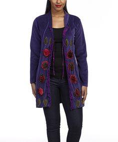 Loving this Purple Velour Tie-Front Jacket on #zulily! #zulilyfinds