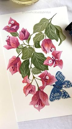 Gouache Painting, Fabric Painting, Painting & Drawing, Watercolor Paintings, Watercolor Flowers Tutorial, Floral Watercolor, Bird Illustration, Pattern Illustration, Black Pen Drawing