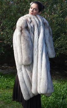 Fur Coat Full Length Norwegian Blue Fox Faint Stripe s Finest Quality | eBay