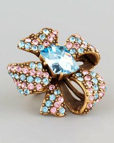 Oscar De La Renta Gold Crystal Bow Ring Aquamarine