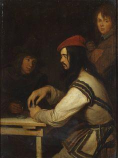Drie mannen in een herberg, Gerard ter Borch (II), 1648-1650 | Museum Boijmans Van Beuningen