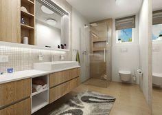 Weiß und helles Holz im Bad - begehbare Glasdusche