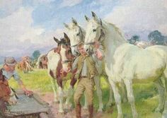 Workhorses and lad, by Lucy Kemp Welch