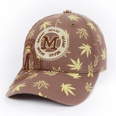 BROWN  Maple Leaf Print Baseball Cap for Women Men M Letter Sport Cap Snap Backs Caps Casual Outdoor Sun Hat