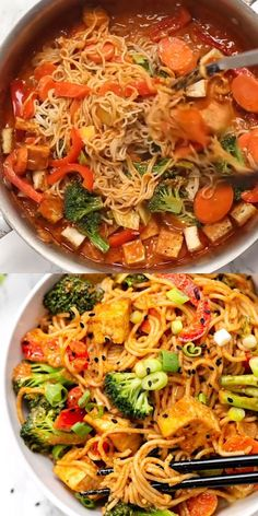 These healthy and vegan Red Curry Noodle Bowls are flavorful, saucy and super easy to make! Served with vegetables, crispy tofu, and gluten-free noodles, making for the perfect easy vegetarian dinner recipe! #redcurry #noodlebowls #vegan