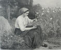 """Lithographie """"Les oisillons"""" d'après Jules Breton"""