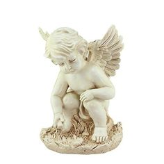 Felices Pascuas Collection 12 inch Heavenly Gardens Distressed Ivory Sitting Cherub Angel Outdoor Patio Garden Statue