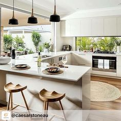 #repost from @caesarstoneau New Archipelago I display home by @dalealcockhomes - an elegant kitchen featuring Caesarstone Organic White across the entire benchtop, complimenting @polytec Moss Grey cabinetry. A perfect, contemporary entertainer home we all dream of! #thatservicewindow ・・・ #repost #dalealcockhomes #itsadales #homeinspo #kitcheninspo #perthhome #caesarstone #kitcheninspiration #beautifulkitchens #kitchenideas #homeideas #interiorinspo #kitchendecor #homeliving