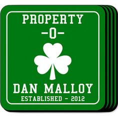 WeddingDepot.com ~ Personalized Coaster Set - Property O ~ Our Property O personalized coasters are a perfect accessory to any bar or family room.