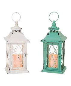 Channel rustic-chic vibes into your home with these charming lanterns that come equipped with LED candles for an ambient flicker without the flame. Lantern Set, Led Lantern, Brown Lanterns, Led Candles, Rustic Chic, Candle Holders, Glow, Lights, Green