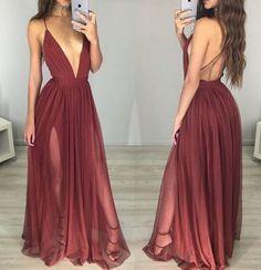 Long Sexy Dark Red Chiffon Prom Dress,A-line Prom Dress ,V-neck Slit Side Burgundy Prom Dress,264