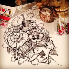 Neotraditional tattoo design for a client, inspired by the wonderful Alice in Wonderland