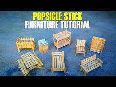 Popsicle Stick Furniture Tutorial by Curious - Fairy Lights Terrace Craft Stick Projects, Diy Popsicle Stick Crafts, Popsicle Sticks, Pop Cycle Stick Crafts, Fairy Furniture, Barbie Furniture, Dollhouse Furniture, Glue Crafts, Diy Crafts