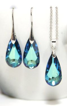 Bermuda Blue Faceted Teardrop Crystal Earrings...Elegant and beautiful! Would go great with my dress.