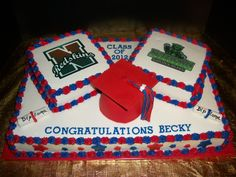 Graduation Sheet Cake - Square cakes have logos for the high school and college attending