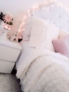 My Sweet Bedroom #decor #girly #white #roomforinspo #sweet #details #ikea #interiordesign #girlyroom #pier1 #tuffedheadboard #roomdetails