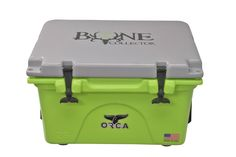 The 26 quart ORCA Coolers Bone Collector® Edition Cooler. Features 26 quart capacity, 100% american made, lifetime warranty, and the Bone Collector's lime green/gray color combination.