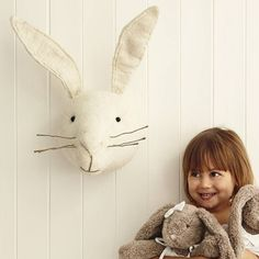 Find This Pin And More On Cute Kids Room Accents White Rabbit Animal Head Gifts For