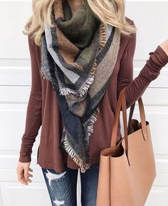 And this is how you wear a blanket scarf! Love the fall color combo of olive, rust and blue.