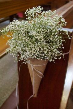church wedding hessian cones filled with gypsophila babys breath pew ends aisle flowers flowers by Gypsophila Wedding, Wedding Pews, Wedding Isles, Wedding Bouquets, Wedding Venues, Wedding Church, Wedding Themes, Wedding Hair, Wedding Reception