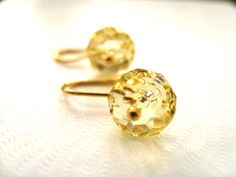 Pale yellow Swarovski earrings handmade wedding by Vitrine on Etsy, $20.00