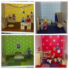 Kamertjes van het poppenhuis Kids Rugs, Dolls, Home Decor, Homemade Home Decor, Kid Friendly Rugs, Puppet, Doll, Puppets, Decoration Home
