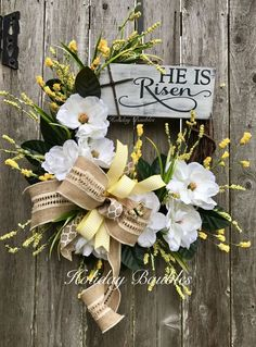 Christian Easter Decorations Fabulous He is Risen Easter Wreath Wreath Obsession – Hobby Lobby Easter Projects, Easter Crafts, Easter Decor, Diy Wreath, Grapevine Wreath, Wreath Ideas, Corona Floral, Cross Wreath, Easter Religious