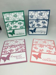 Set of 4 Various Occasion Cards Stampin Up by SWEETMILAGROS