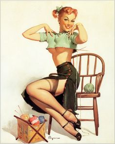 "Free US shipping Handprinted Cotton Art Reprodn Applique Vintage Sexy Pin-up Girl Gil Elvgren ""A spicy yarn"" , 1952"