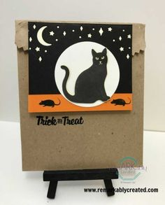 Card front builder framelits look great on Halloween treat bag