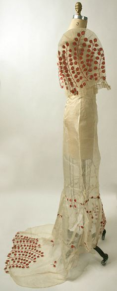 ivory & red berry Philippine ensemble in piña cloth, 20th century