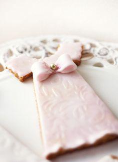Dress cookies~                       by kdjokova, via Flickr, pink bow, communion, wedding